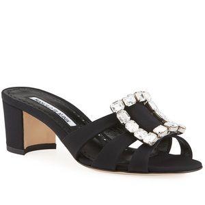 Manolo Blahnik Iluna New Crepe Buckle Sandals